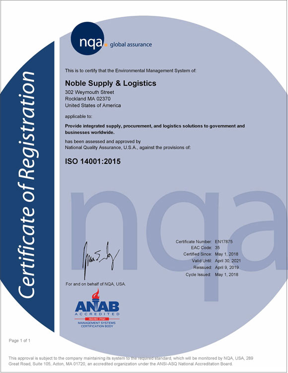 Noble's ISO-14001-Certificate