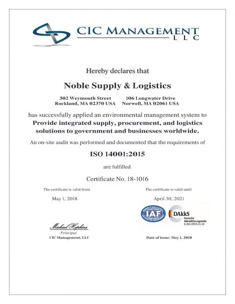 CIC - Noble Certificate 2015