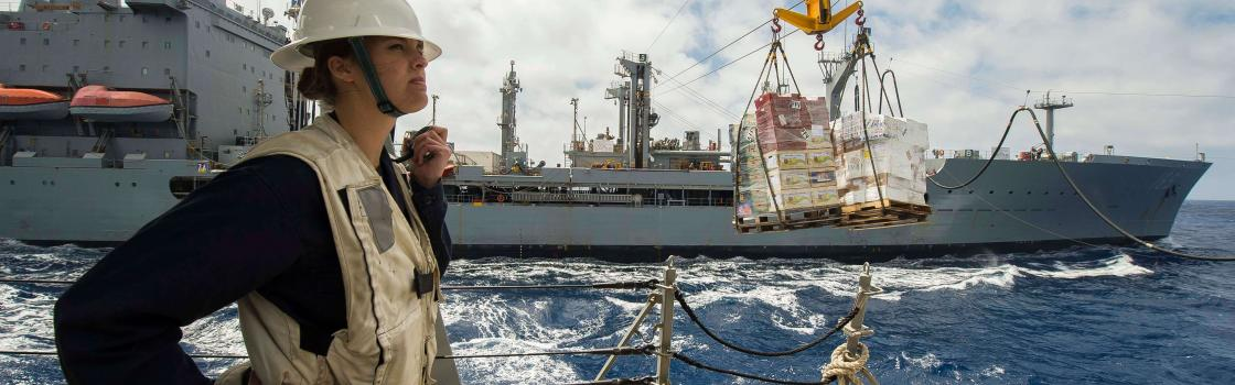 MEDITERRANEAN SEA (May 1, 2015) Ensign Danielle Garbarino, from Vail, Col., monitors inbound supplies from the Military Sealift Command fleet replenishment oiler USNS John Lenthall (T-AO 189) during a replenishment-at-sea aboard the guided-missile destroyer USS Ross (DDG 71). Ross is conducting naval operations in the U.S. 6th Fleet area of operations in support of U.S. national security interests in Europe. (U.S. Navy photo by Mass Communication Specialist 3rd Class Robert S. Price/Released)