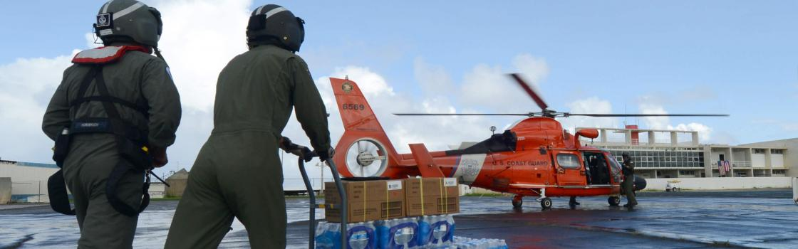 The aircrew was refueling, reloading aid and swapping crewmembers in between sorties to deliver aid from the Federal Emergency Management Agency
