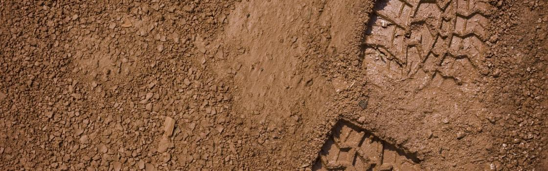 Military boot print in the dirt