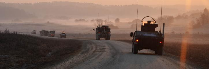 U.S. Army soldiers of Alpha Company, 173rd Brigade Support Battalion, 173rd Airborne Brigade Combat Team (ABCT) conduct a mission convoy during a training exercise at the Joint Multinational Readiness Center (JMRC) in Hohenfels, Germany, March 16, 2012. The U.S. Army's 173rd ABCT, Europe's rapid-reaction force, is conducting a mission rehearsal exercise at the JMRC in preparation for an upcoming deployment to Afghanistan. The exercise was designed to develop combat skills, counterinsurgency tactics and the