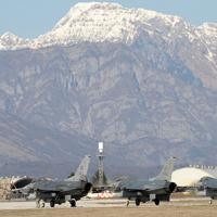 Planes on the runway at Aviano Air Base, in northeastern Italy.